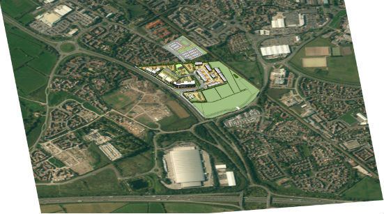 Weston Gatewaty Business Park - Aerial photo with artists impression of the site